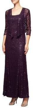 Alex Evenings Sequined Lace Evening Gown