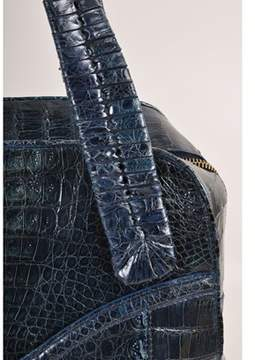 Nancy Gonzalez Pre-owned Dark Teal Blue Glazed Crocodile Leather Large Structured Tote Bag.