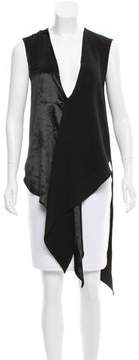 Baja East Velvet-Accented Sleeveless Top w/ Tags