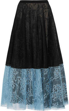 Erdem Nesrine Two-tone Lace Midi Skirt - Black
