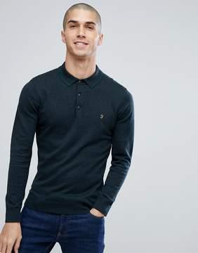 Farah Farson Slim Fit Long Sleeve Knitted Polo In Black Marl