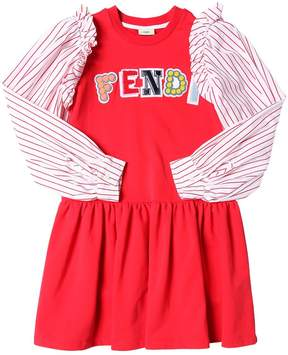 Fendi Poplin Sleeves Cotton Sweatshirt Dress