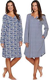 Carole Hochman As Is Cotton Knit Floral & Stripe Sleepshirt 2PK