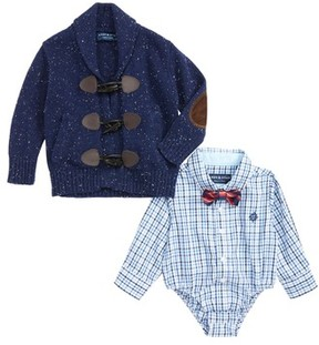 Andy & Evan Infant Boy's Shirtzie Check Bodysuit, Bow Tie & Toggle Cardigan Set
