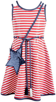 Bonnie Jean Little Girls 2-Pc. Striped Dress & Star Shoulder Bag Set
