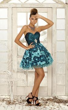 Blush Lingerie 9275 Ornate Floral Strapless Dress