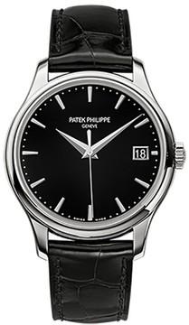 Patek Philippe Calatrava 18K White Gold Watch on Leather Strap 5227G
