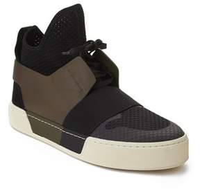 Balenciaga Men's Elastic Trainer High Top Sneaker Black Olive.