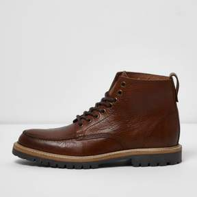 River Island Mens Tan brown lace-up leather boots