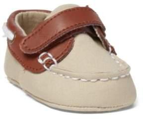 Ralph Lauren Sander Ez Boat Shoe Khaki Canvas/Tan Leather 0 (0-6Wks)