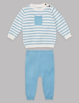 Marks and Spencer 2 Piece Pure Cotton Knitted Top & Bottom Outfit