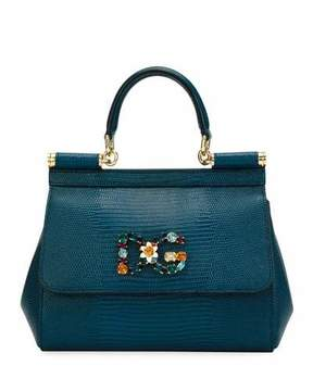 Dolce & Gabbana Sicily Small Stampa Iguana Top-Handle Bag - BLUE - STYLE