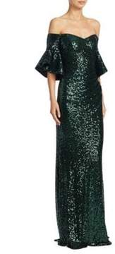 Badgley Mischka Sequin Floor-Length Gown