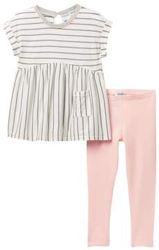 Splendid Stripe Short Sleeve Top & Leggings Set (Little Girls)