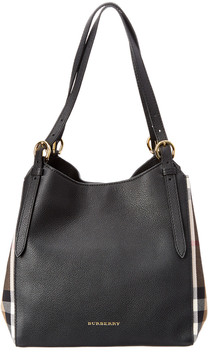 Burberry Canter Small House Check & Leather Tote - BLACK - STYLE