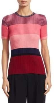 Akris Punto Colorblock Short-Sleeve Wool Top