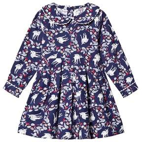 Rachel Riley Navy Deer Print Flannel Dress