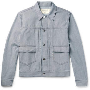 MAISON KITSUNÉ Slim-Fit Embroidered Striped Denim Jacket