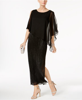 Connected Capelet Metallic Gown