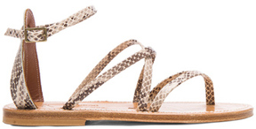 K. Jacques Epicure Leather Sandals in Neutrals,Brown,Animal Print.