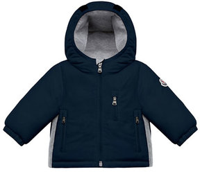 Moncler Constant Hooded Coat w/ Contrast Sides, Size 12M-3T