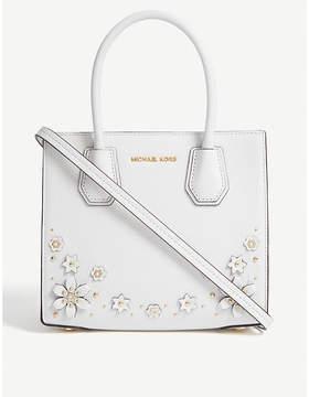 MICHAEL Michael Kors Michael Kors Optic White Floral Mercer Embellished Leather Tote Bag