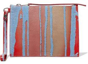 Rick Owens Appliquéd Degradé Lizard-Effect Leather Clutch