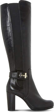 Dune Ladies Black Classic Scout Leather Thigh-High Boots