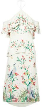 Alice + Olivia Alice Olivia - Golda Off-the-shoulder Embroidered Georgette Halterneck Midi Dress - Cream