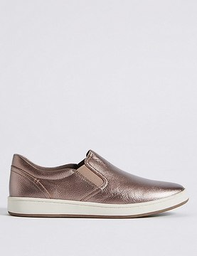 Marks and Spencer Leather Slip-on Slab Sole Trainers