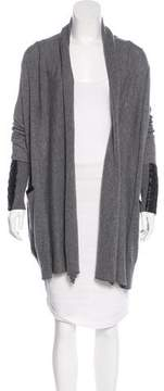 Barneys New York Barney's New York Leather-Accented Knit Cardigan