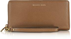 Michael Kors Mercer Large Luggage Pebble Leather Continental Wallet - BROWN - STYLE