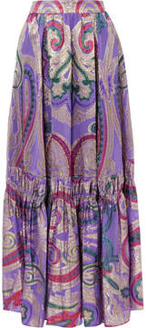 Etro Tiered Metallic Silk-blend Jacquard Maxi Skirt - Purple