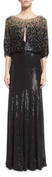 Jenny Packham 3/4-Sleeve Round-Neck Embellished Gown, Black/Gold