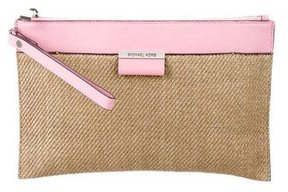 Michael Kors Leather-Trimmed Straw Clutch - BROWN - STYLE