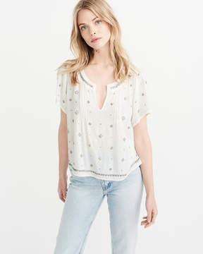 Abercrombie & Fitch Embellished Peasant Top