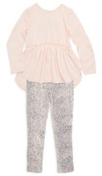 Splendid Toddler's & Little Girl's Two-Piece Long Sleeve Top and Snake Print Leggings Set