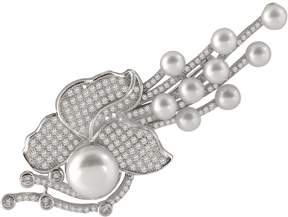 Bella Pearl Sterling Silver Flower Brooch