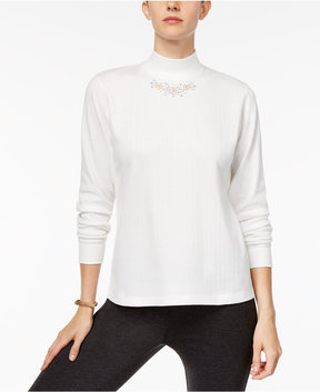 Alfred Dunner Eskimo Kiss Mock-Neck Embroidered Top