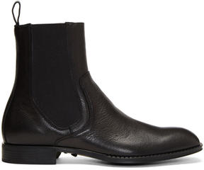 Versace Black Leather Chelsea Boots