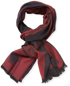 Versace Men's Sciarpa Fringe Wool Long Scarf