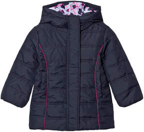 Hatley Navy Quilted Puffer Coat with Flower Lining