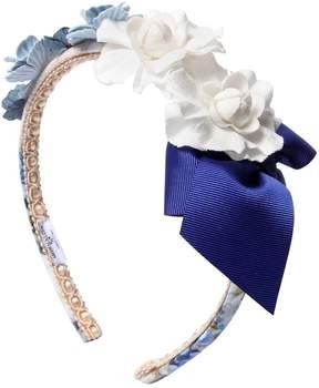 MonnaLisa Flowers & Bow Cotton Headband