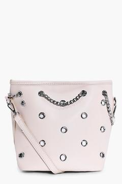boohoo Sofia Eyelet Bucket Bag