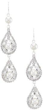 Cezanne Rhinestone & Faux-Pearl Double Teardrop Earrings