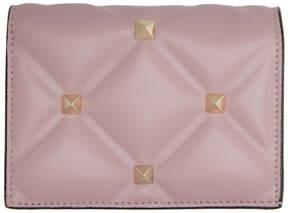 Valentino Pink Garavani Candystud Flap French Wallet