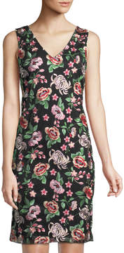 Donna Ricco Floral-Embroidered Mesh Sheath Dress