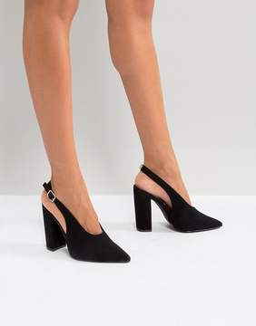 Qupid Slingback Block Heel Shoe