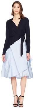 Jil Sander Navy Knitted Wrap Dress with Taffetas Skirt Women's Dress