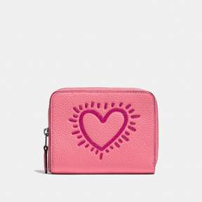 COACH Coach X Keith Haring Small Zip Around Wallet - BRIGHT PINK/BLACK COPPER - STYLE